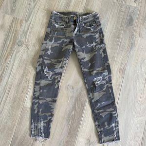 Zara Camo Moto Jeans Frayed 26 4
